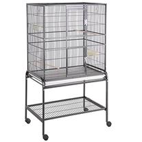 HQ Flight Cage, Multi Purpose Aviary with Cart Stand, Black