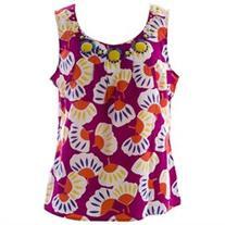 BODEN Women's Floral Ibiza Top US Sz 10 Magenta