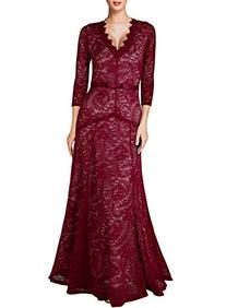 Miusol Women's Floral Lace 2/3 Sleeves Long Bridesmaid Maxi