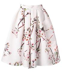 Genluna Women's White Floral Pleated Skirt ,White,Large