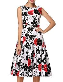 ACEVOG Women's Floral Print Hepburn Style Sleeveless Midi