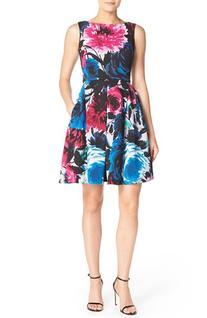 Women's Taylor Dresses Floral Print Scuba Fit & Flare Dress