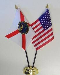 Florida State and United States Friendship Table Flag