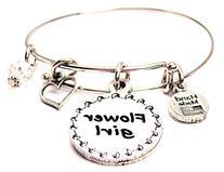 Flower Girl Adjustable Wire Bangle Charm Bracelet Single