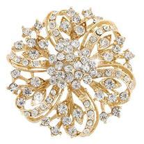 EVER FAITH® Flower Bouquet Brooch Clear Austrian Crystal