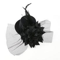 Tinksky Mini Flower Decor Hair Clip Feather Punk Top Hat for