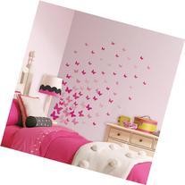Pink Flutter Butterflies Peel and Stick Wall Decals