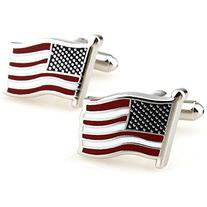 Covink Flying American National Flag Men's Office Cufflinks