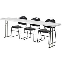 Flash Furniture Plastic Folding Training Table with 3