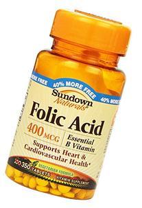 Sundown Naturals Folic Acid 400 Mcg, 350 Count