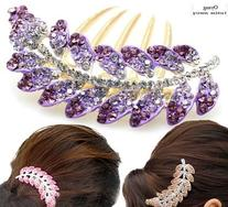 FOONEE New Lovely Fashion Purple Leaves Crystal Hair Clip
