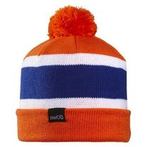 Chaos Football Striped Convertible Slouch Beanie, Orange,