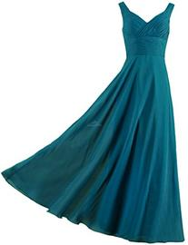 ANTS Formal Straps Pleated Long Straight Bridesmaid Dresses