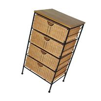 Four-Drawer Steel and Wicker Chest