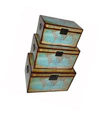 Cheung's Rattan FP-4231-3 World Map Trunk, Set of 3