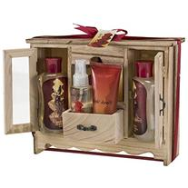 French Vanilla Spa Bath Gift Set in Natural Wood Curio,