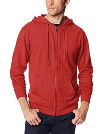 Soffe Men's French Terry Zip Hooded Sweatshirt Red Heather