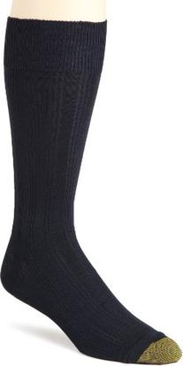 Gold Toe Men's Freshcare Dress Rib Sock, 3 Pack,Navy,10-13