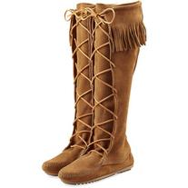 Minnetonka Fringed Suede Knee Boots