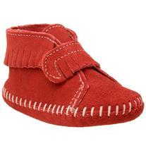 Minnetonka Front Strap Bootie ,Cherry,5 M US Toddler
