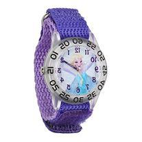 Disney Frozen Elsa Girls' Plastic Case Watch, Purple Nylon