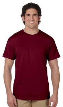 Fruit of the Loom Men's Crewneck T-Shirt, MAROON, Large