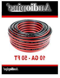 50' AUDIOPIPE 10 GA GAUGE RED BLACK ZIP WIRE SPEAKER CABLE