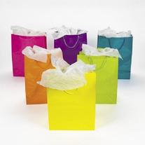 1 X Lot of 12 Large Bright Neon Color Paper Gift Party Bags