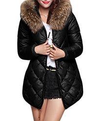 XIAOLV88 Women's Fur Collar Long Ling Coat Warm Duck Down