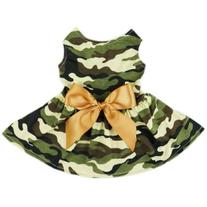FurBaby Fashion Army Green Camouflage Pet Dog Dress Clothes