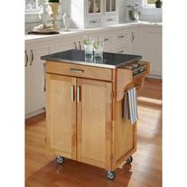 Home Styles Cuisine Kitchen Cart, Natural with Stainless
