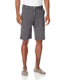 prAna Men's Furrow Shorts, Black Herringbone, 34