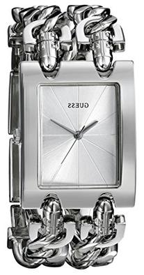 GUESS Women's G75916L Brilliance on Links Silver-Tone Watch