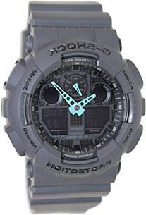 Casio Men's GA-100C-8ACR G-Shock Analog-Digital Watch, Grey/Neon Blue