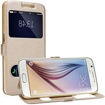 Galaxy S6 Case, EnGive Premium Slim Flip Imitation Leather