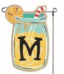 Home Garden Flags Monogram Lemonade Mason Jar Burlap Summer