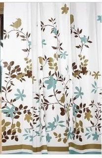 """Garden Floral Shower Curtain with Hooks, 71"""" X 71"""" - Blue/"""