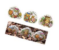 12Cm Garden Owl Rock Complete Set Of 3 Assorted Dream/Hope/