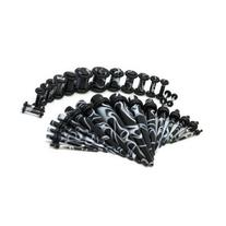 Gauges Kit 32 Pieces Black Marble Acrylic Tapers with Black