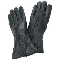 Gauntlet Cuffed Solid Leather Gloves with Zipper Large