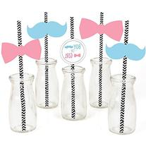 Baby Gender Reveal - Party Straw Decor with Paper Straws -