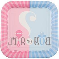 Square Gender Reveal Dessert Plates, 10ct