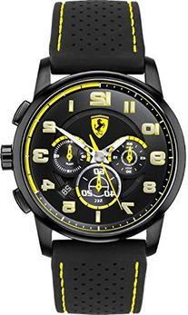 Ferrari Heritage Chronograph Blacl Dial Black Silicone Mens