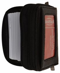 Genuine Leather Credit Card Holder Wallet Accordion Double