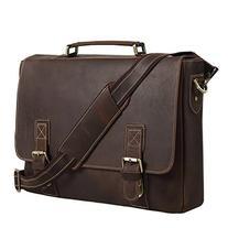 Texbo Men's 16 Inch Full Grain Cowhide Leather Laptop
