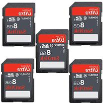 5-pack SanDisk ULTRA 8GB Class 10 SDHC Memory Card Up To
