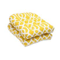 Pillow Perfect Outdoor New Geo Wicker Seat Cushion, Yellow,