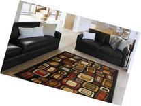Geometric Black Abstract 8x11 Area Rug Squares Carpet -