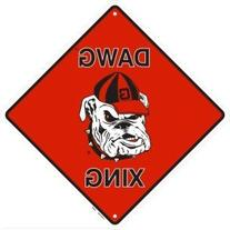 Georgia Dawg Crossing Sign Metal Embossed 12 x 12 by Tag