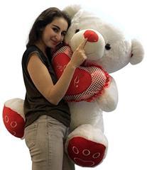 Giant Valentines Day Teddy Bear Soft White Oversized Plush